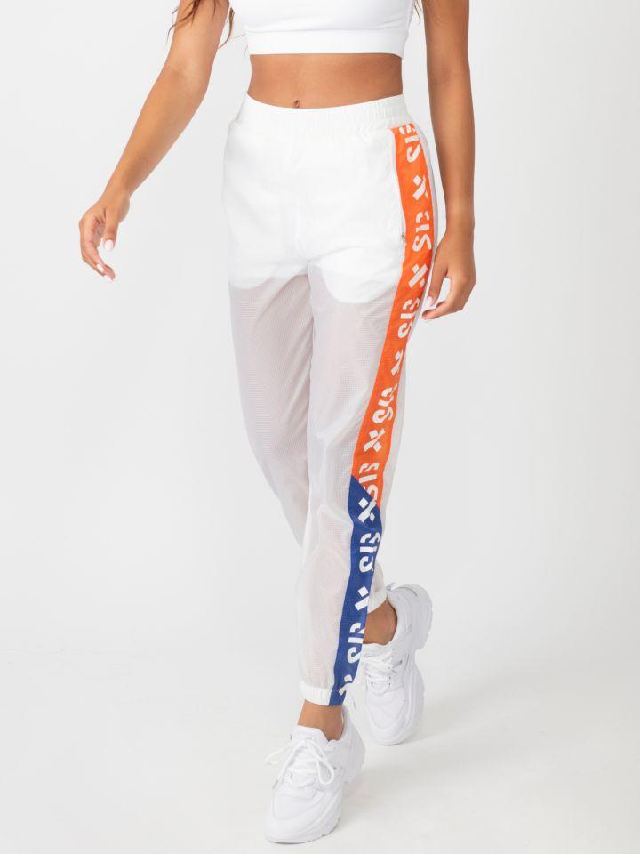 מכנס ניילון בשילוב פסי צד  צבעוניים